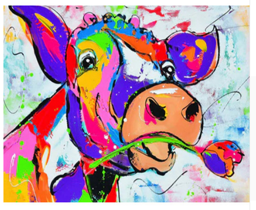 Romantic Color Cow - DIY Painting By Numbers Kit