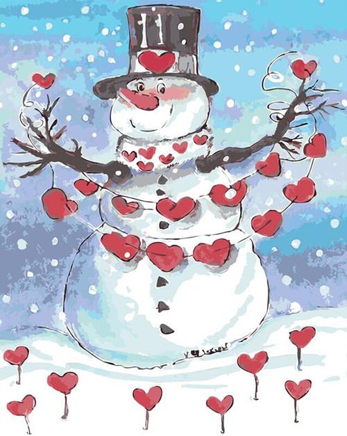 Snowman In Love - DIY Painting By Numbers Kit