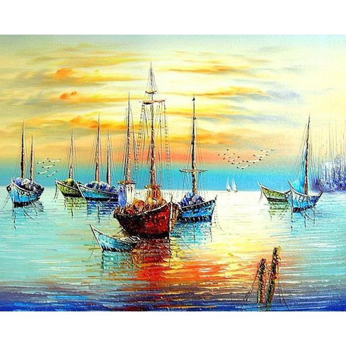 Sunset Boats - DIY Painting By Numbers Kits