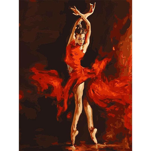 Ballerina In Red - DIY Painting By Numbers Kit