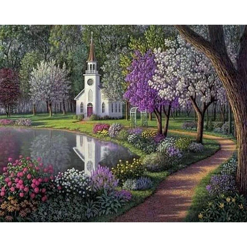 Church By The Lake - DIY Painting By Numbers Kit