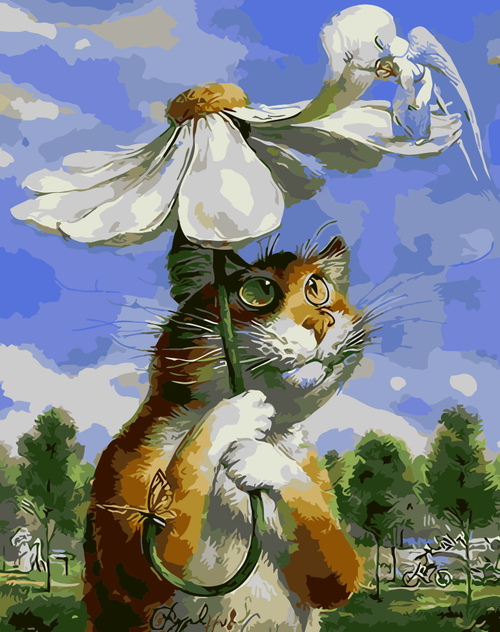 Cat Under A Flower - DIY Painting By Numbers Kit