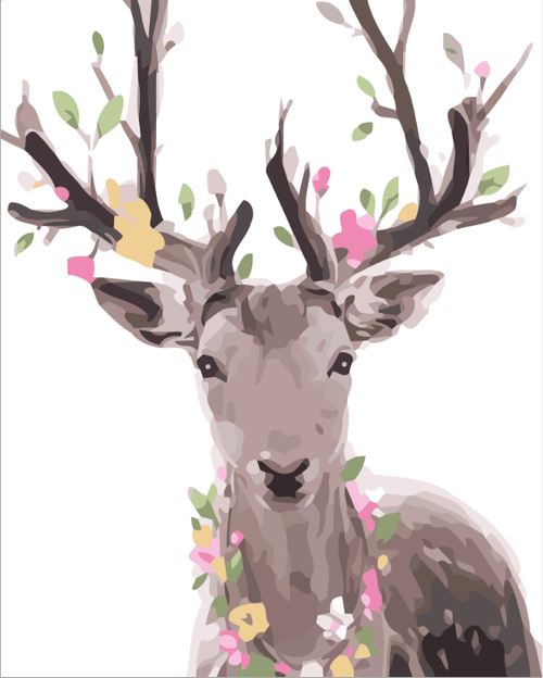 Deer With Flowers - DIY Painting By Numbers Kit