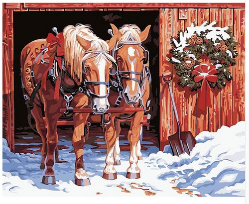 Horses in Winter - DIY Painting By Numbers Kit
