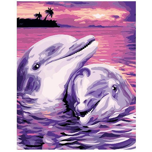 Dolphins In Love - DIY Painting By Numbers Kit