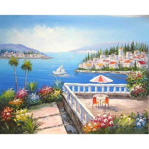 City With Sea View - DIY Painting By Numbers Kit