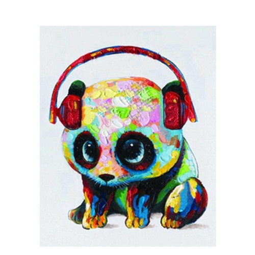 Panda With Headphones - DIY Painting By Numbers Kit