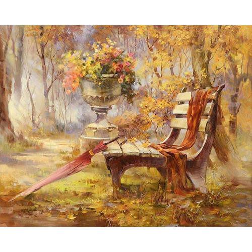 Abandoned Park Chair - DIY Painting By Numbers Kit