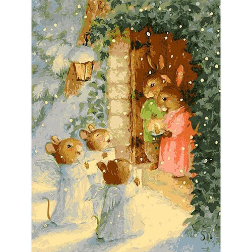 Merry Cute Rabbits - DIY Painting By Numbers Kit