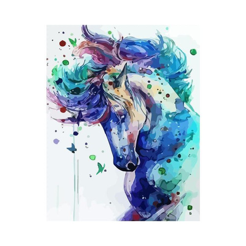 Majestic Blue Horse - DIY Painting By Numbers Kit