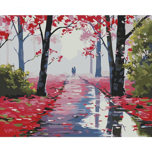 Fallen Flower Path - DIY Painting By Numbers Kit