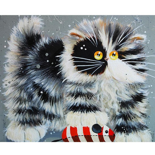 Fluffy Scaredy Cat- DIY Painting By Numbers Kits