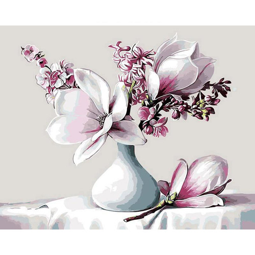 Magnolia Pink Flowers - DIY Painting By Numbers Kit