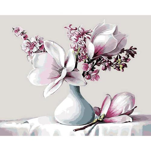 Magnolia Pink Flowers - DIY Painting By Numbers Kit
