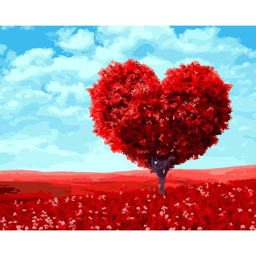 Heart Tree In Red Field - DIY Painting By Numbers Kit