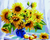 Sunflowers In Blue Pot - DIY Painting By Numbers Kit