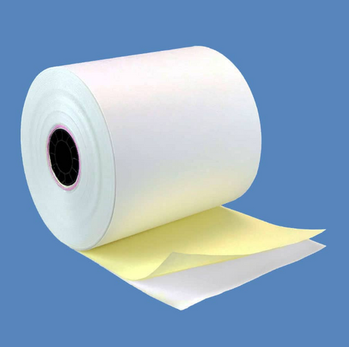 "2 Ply Carbonless Paper Register Rolls White/Canary 3""x90' BPA Free (50/Case)"