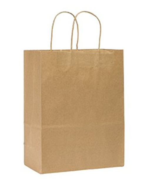 """Rope Handle Paper Shopping Bags Missy 10x5x13"""" Natural Kraft (250/Case)"""