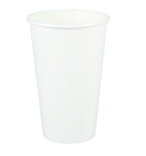 16 oz White Paper Hot Cups (1000/Case)