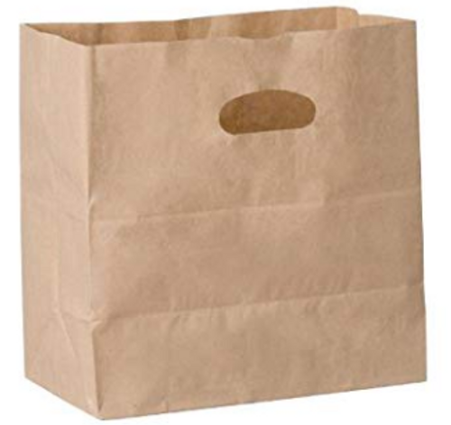 "Die Cut Paper Bags, 11x6x11"", Natural Kraft (500/Case)"