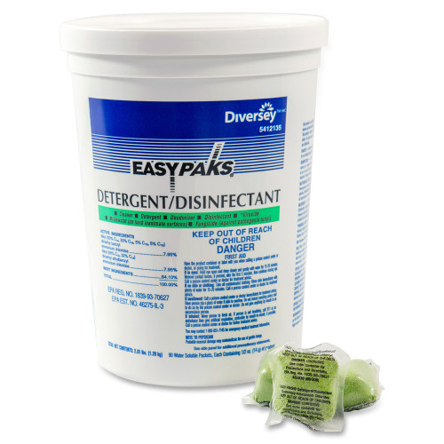 EasyPaks Detergent/Disinfectant Powder Packets (90/Tub)