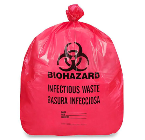 "Biohazard Trash Can Liner 24x33"" 1.5 Mil ""Infectious Waste"" Print (250/Case)"
