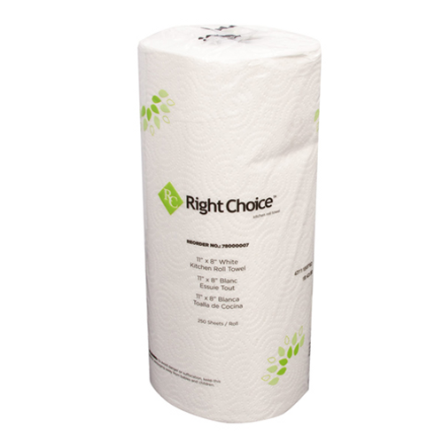 Right Choice Jumbo Kitchen Roll Paper Towelsl, 250 Sheets (12/Case)