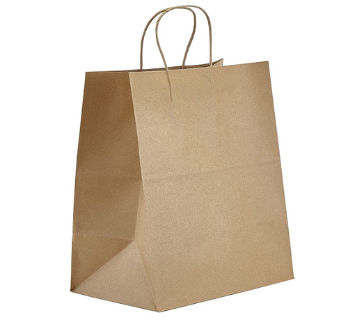 "Rope Handle Paper Shopping Bags Phoenix 10x7x12"" Natural Kraft (250/Case) Kevidko"