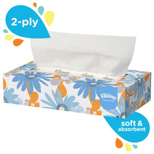 Kleenex 2 Ply Facial Tissue, Flat Box, 125 Sheets (48/Case)
