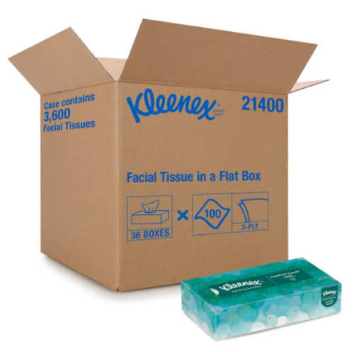 Kleenex 2 Ply Facial Tissue, Flat Box, 100 Sheets (36/Case)