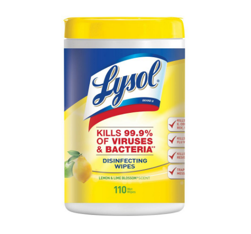 Lysol Disinfecting Wipes Lemon Lime XL Jug (110/Jug)