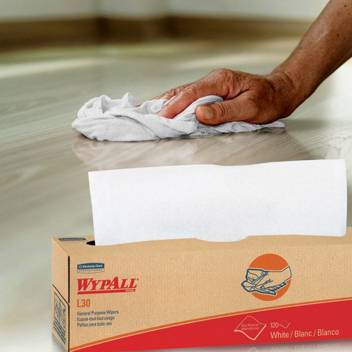 "Wypall L30 Disposable Dry Wipes, Pop Up Box 9.8x16.4"" (120/Box)"
