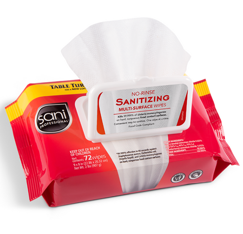 Sani No-Rinse Sanitizing Wipes, Reclosable Pouch Pack (72/Pack)