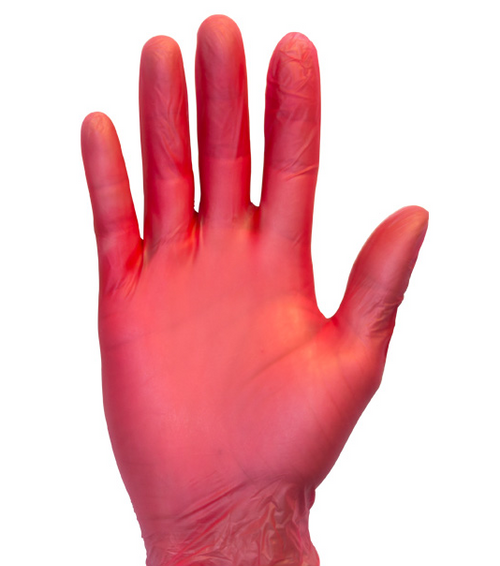 Red Vinyl Powder Free Gloves - Large (100/Box)
