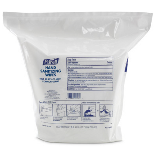 Purell Hand Sanitizing Wipes,  High Capacity Refill Pouch (1200/Bag)