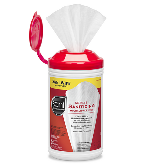 Sani No-Rinse Sanitizing Wipes, XL Jug (175/Jug)