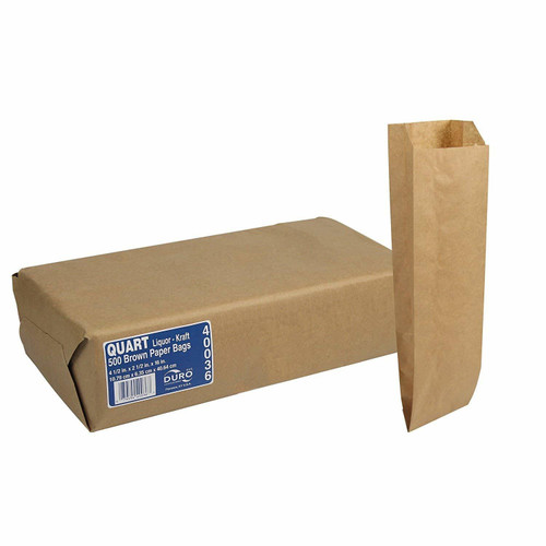 Quart Liquor & Wine Bottle Bag Natural Kraft (500/Bale)