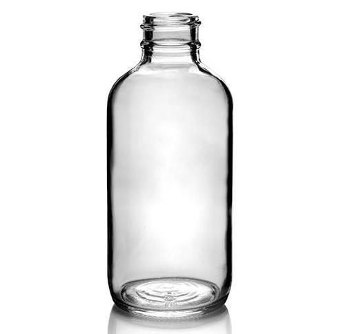 24-400 4 oz Clear Glass Boston Round Bottles (128/Case)
