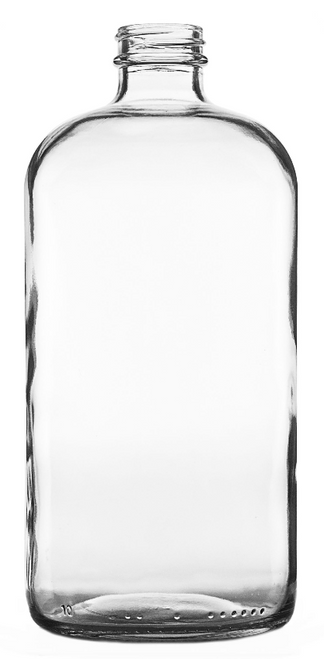 16 oz Clear Glass Boston Round Bottles, 28/400 (12/Case)