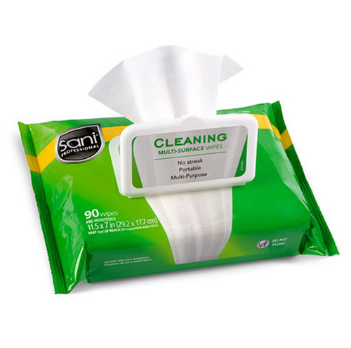 Sani Cleaning Multi-Surface Wipes w/ Isopropyl Alcohol, Reclosable Pouch Pack (90/Pack)