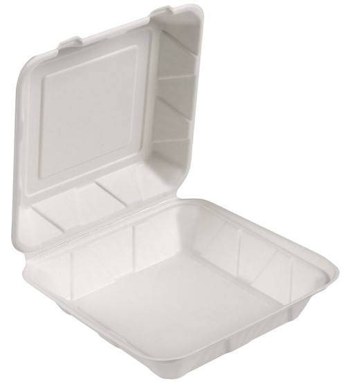 """9x9x3"""" White Sugarcane Fiber Hinged To Go Container (200/Case)"""
