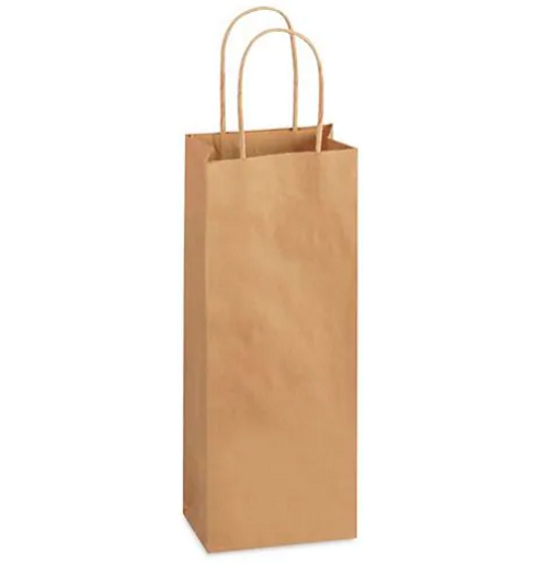 """Wine Bottle Paper Shopping Bags w/ Rope Handles, 5.5x3.25x13"""", Natural Kraft (250/Case)"""