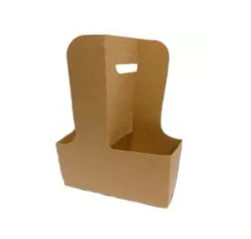 2-4 Cup Drink Carrier Tray w/ Handle, Natural Kraft (250/Case)