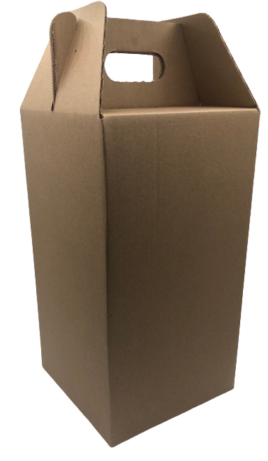 4 Pack Wine Carrier Tote, Corrugated, Natural Kraft