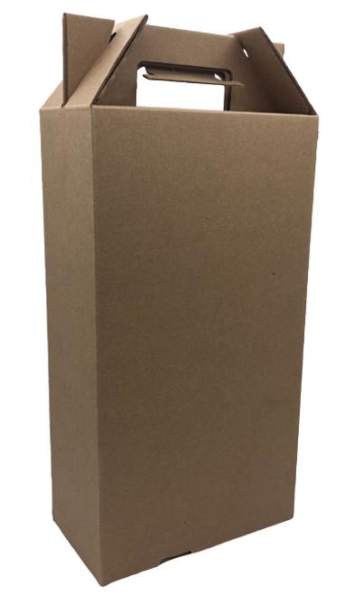 2 Pack Wine Carrier Tote, Corrugated, Natural Kraft (20/Bundle)