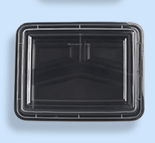 HD RE-353 42 oz Black Base Container w/ Clear Lid, 3 Compartment (150/Case)