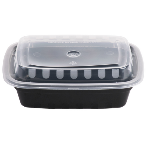 12 oz Rectangle Black Base Container w/ Clear Lid (150/Case)