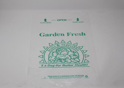"Translucent Produce Bags on Rolls, ""Garden Fresh, Eat 5 a Day"" 12x20"" HD (4/Case)"
