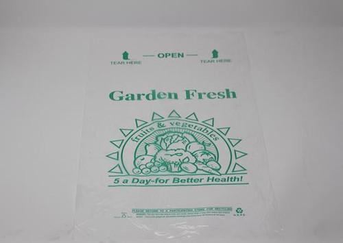 "Translucent Produce Bags on Rolls, ""Garden Fresh, Eat 5 a Day"" 12x20"" HD (4/Case)"