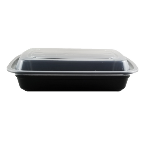 24 oz Rectangle Black Base Container w/ Clear Lid (150/Case) Kevidko